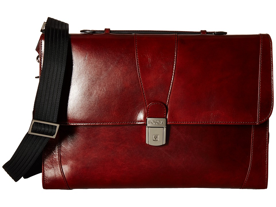 Bosca - Flap Envelope Brief (Dark Brown) Briefcase Bags