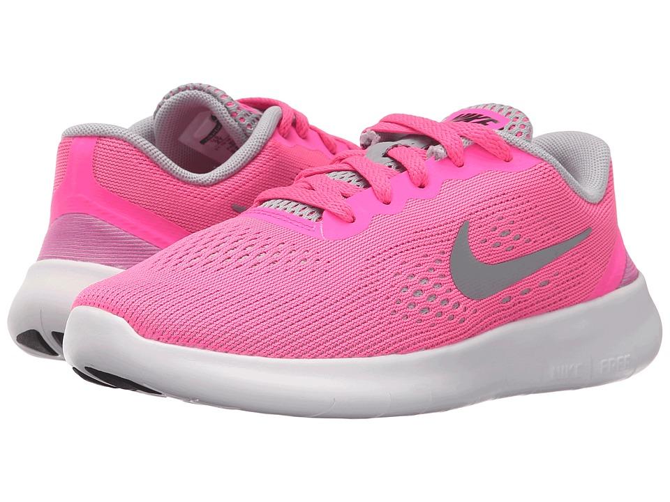 Nike Kids Free RN (Little Kid) (Pink Blast/White/Black/Metallic Silver) Girls Shoes