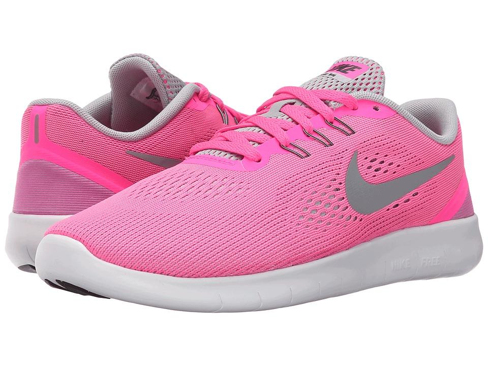 Nike Kids Free RN (Big Kid) (Pink Blast/White/Black/Metallic Silver) Girls Shoes