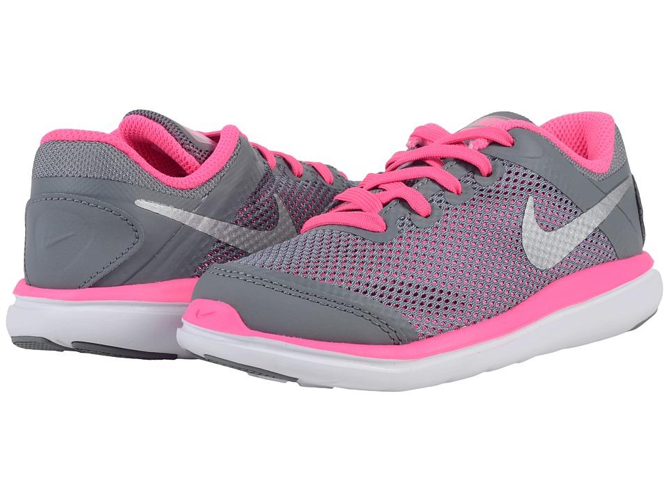 Nike Kids Flex 2016 RN (Little Kid) (Cool Grey/Black/Pink Blast/Metallic Silver) Girls Shoes