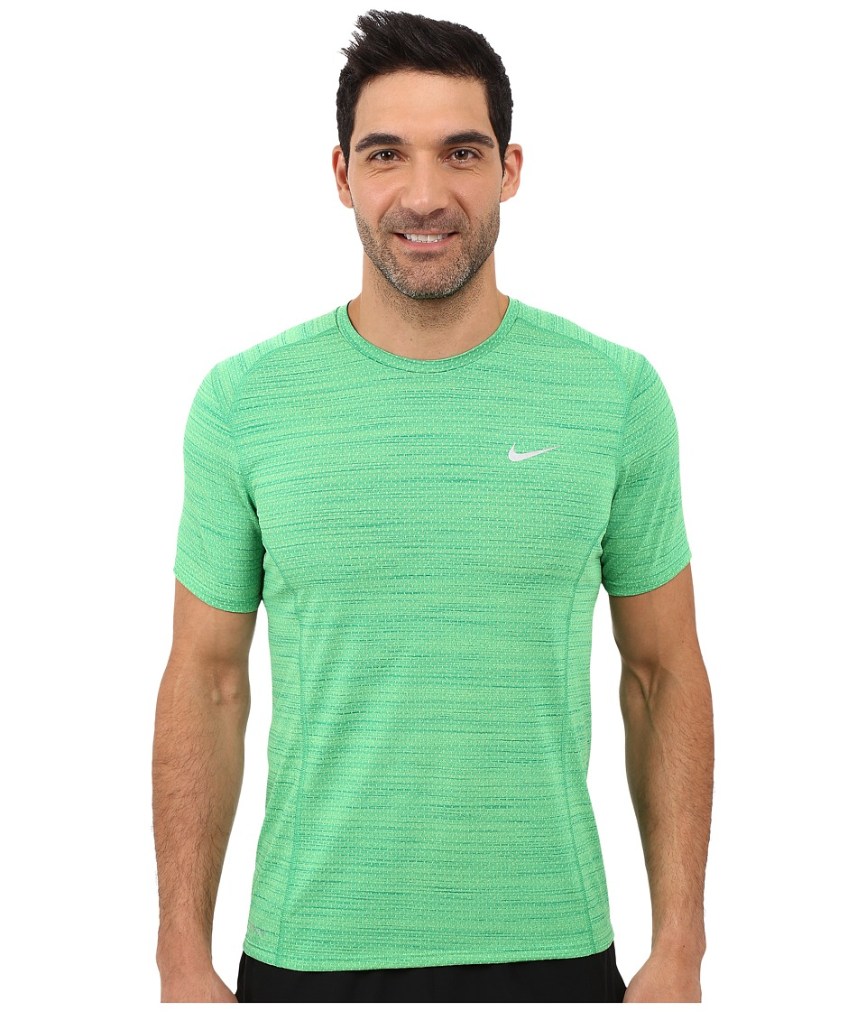 Nike - Dry Miler Short Sleeve Running Top (Action Green/Rio Teal/Reflective Silver) Men