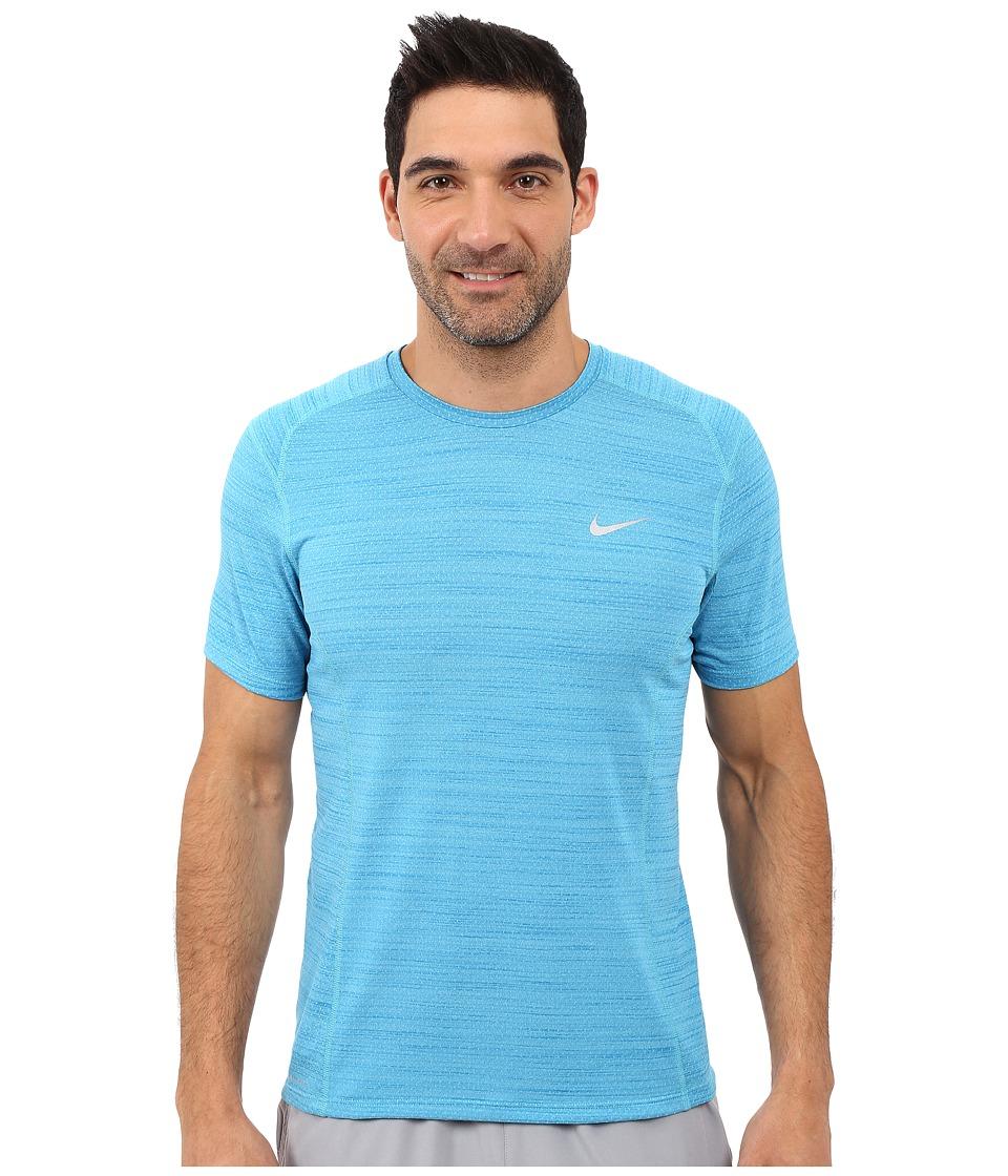 Nike Dry Miler Short Sleeve Running Top (Omega Blue/Light Photo Blue/Reflective Silver) Men