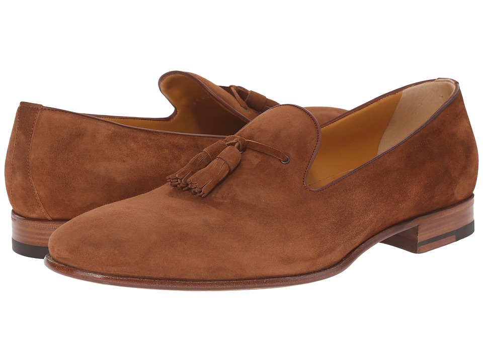 a. testoni Deluxe Suede Tassle Loafer Caramel Mens Slip on Shoes