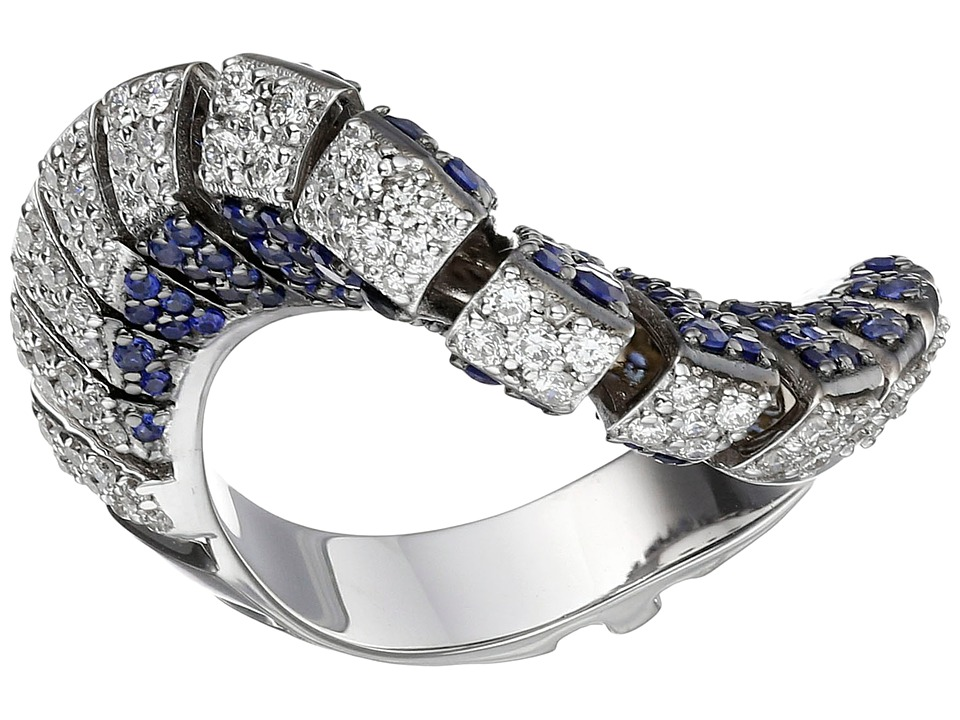Miseno - Ventaglio 18k Gold/Diamond/Sapphire Ring (White ...