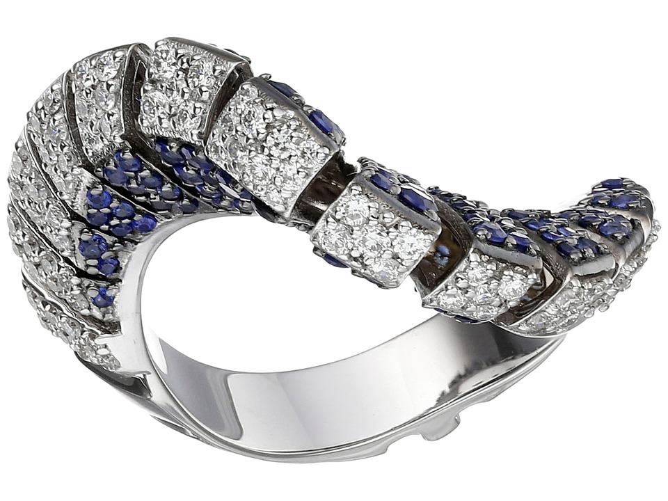 Miseno Ventaglio 18k Gold/Diamond/Sapphire Ring White Gold Ring