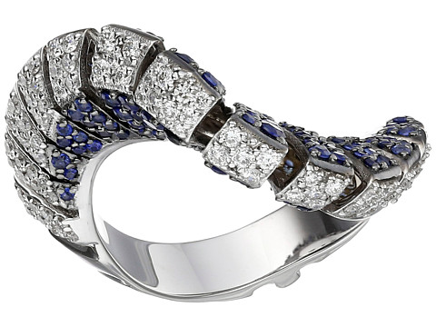 Miseno Ventaglio 18k Gold/Diamond/Sapphire Ring - White Gold