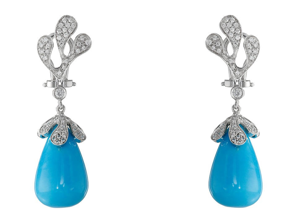 Miseno - Sea Leaf Turquoise/Diamond Earrings (White Gold)...