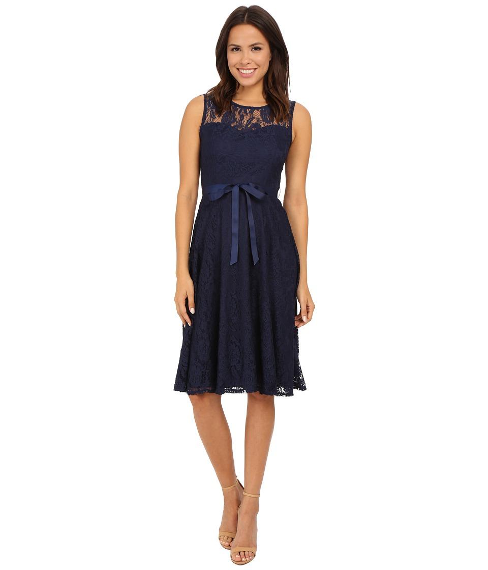 Christin Michaels Faith Lace Sleeveless Dress (Navy) Women