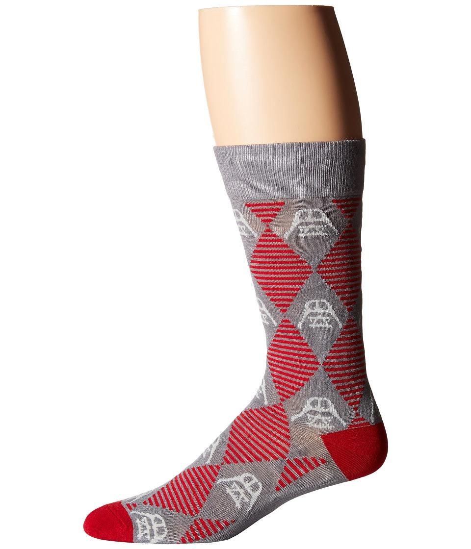 Cufflinks Inc. Star Wars Darth Vader Argyle Stripe Socks Gray Mens Crew Cut Socks Shoes