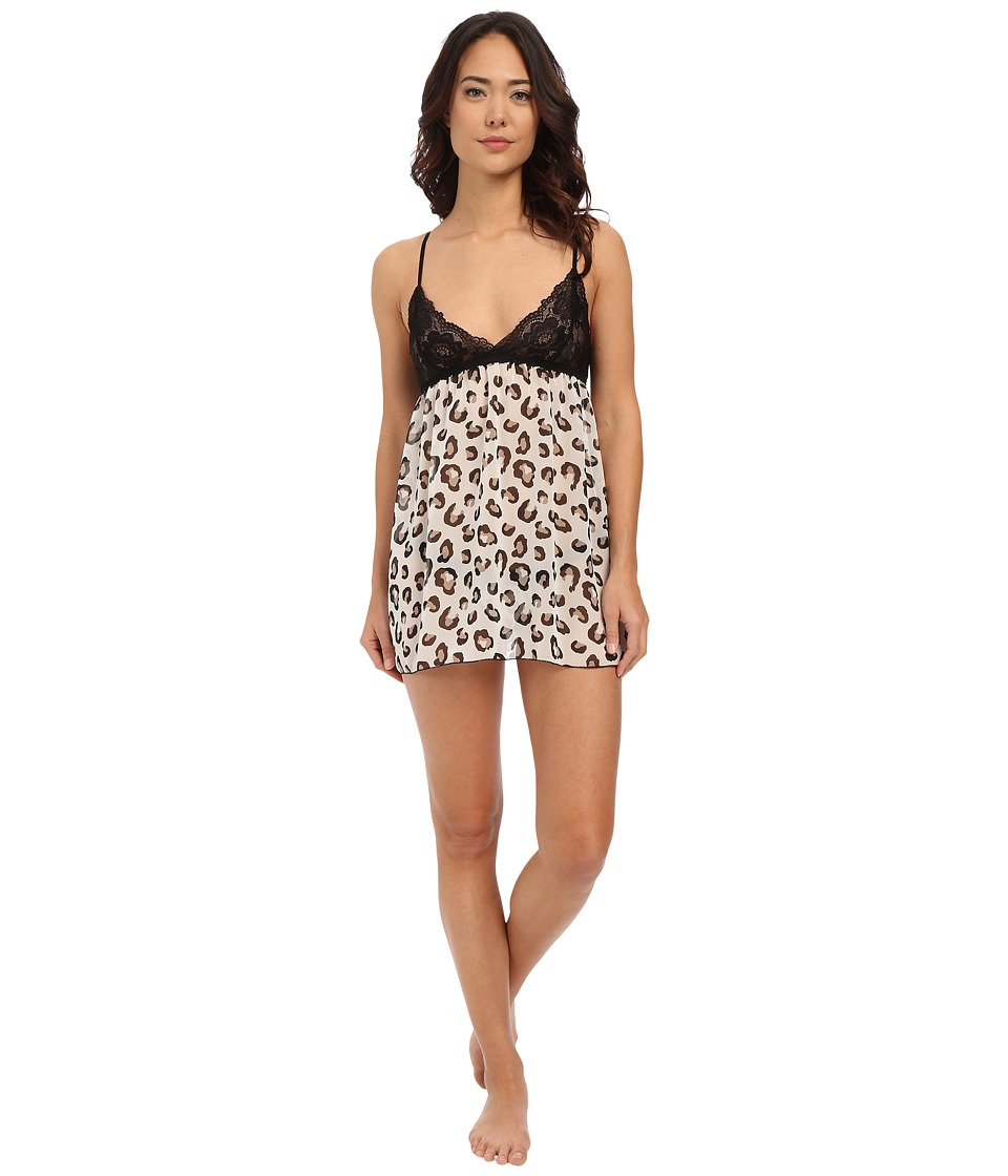 Hanky Panky Animal Chiffon Babydoll Ivory/Charcoal/Black Womens Underwear