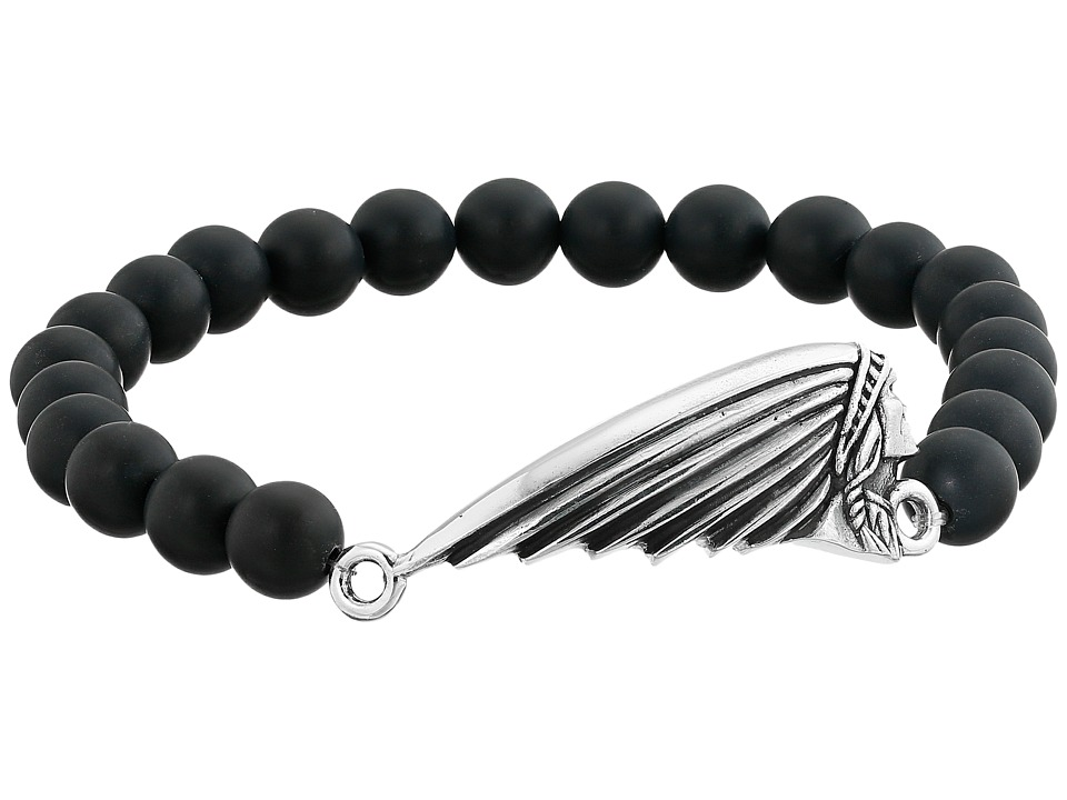 King Baby Studio 8mm Black Onyx Bead Bracelet with Indian Motorcycle Logo Headdress Onyx Bracelet
