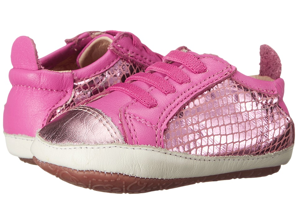 Old Soles Bambini Jogger Infant/Toddler Pink Snake/Pink Frost/Fuchsia Girls Shoes