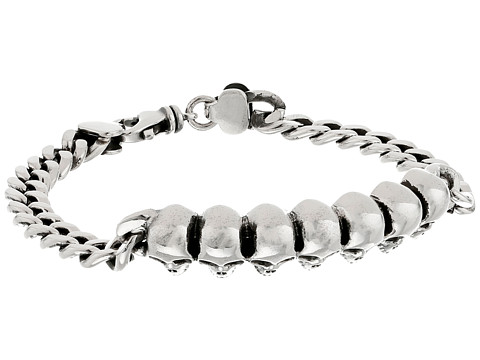 King Baby Studio Curb Link ID Bracelet with Infinity Skulls - Silver