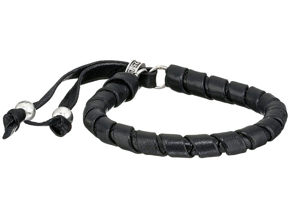 King Baby Studio - Thin Natural Wrap Black Leather Bracelet