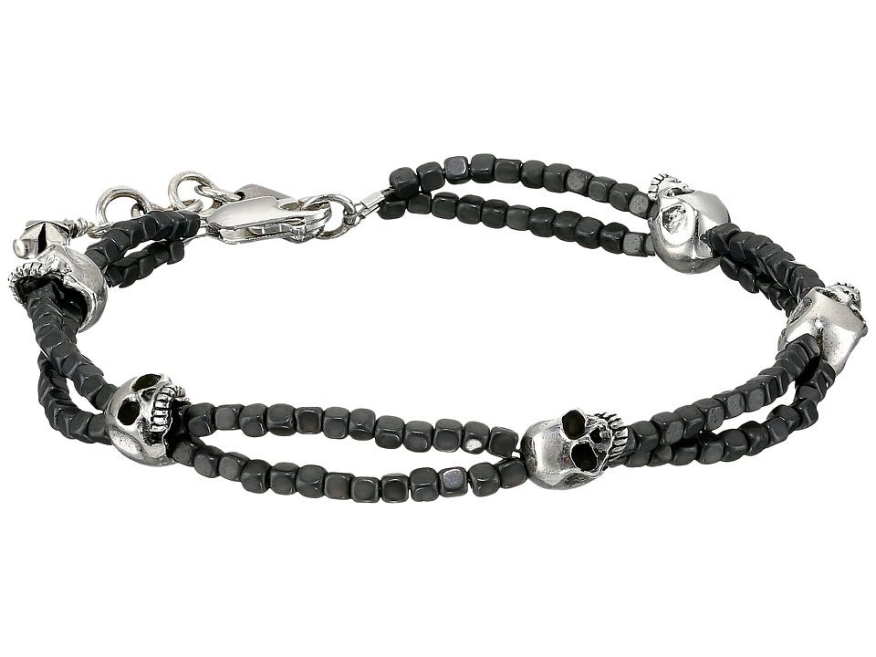 King Baby Square Hematite Double Strand Bracelet with Sku...