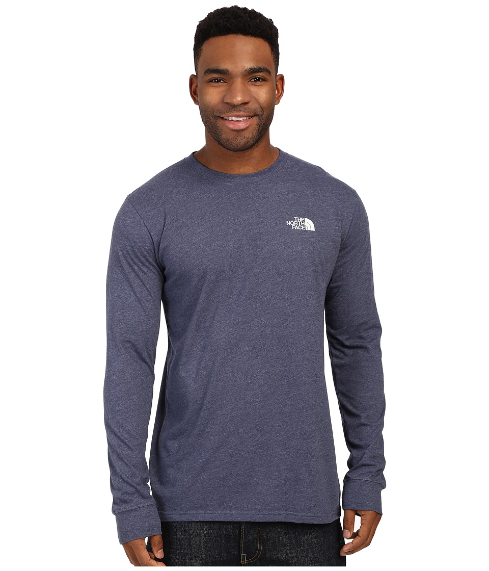 The North Face Long Sleeve Red Box Tee Cosmic Blue Heather/Mid Grey Mens Long Sleeve Pullover