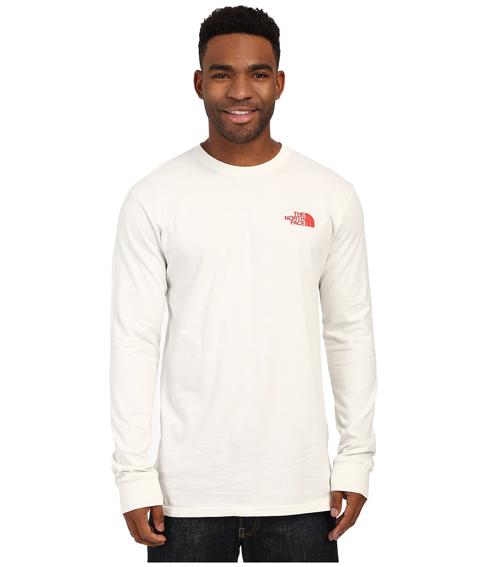 The North Face Long Sleeve Red Box Tee Vaporous Grey/Fiery Red Mens Long Sleeve Pullover