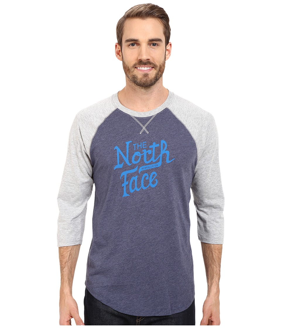 The North Face - 3/4 Sleeve Alpine Varsity Club Tee (Cosmic Blue Heather) Men