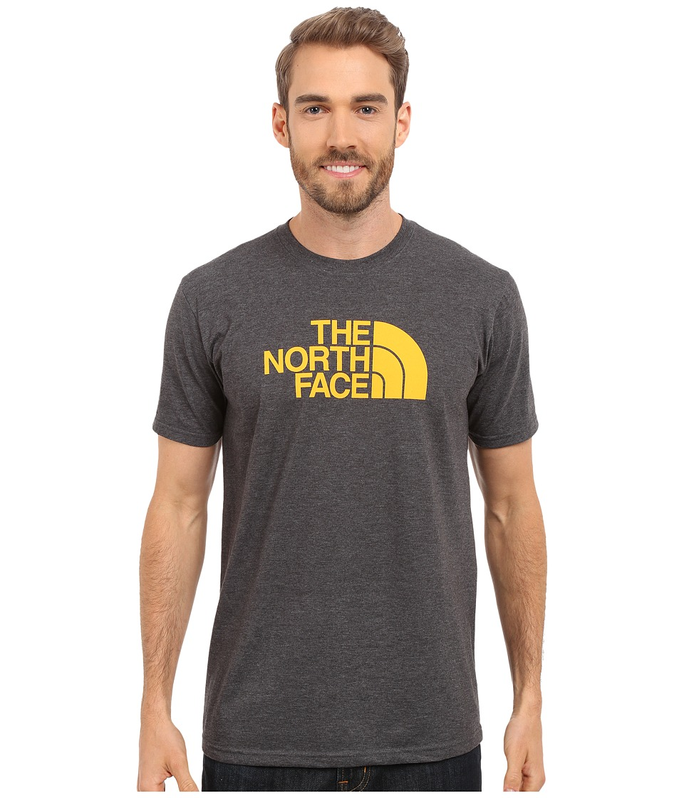 The North Face - Short Sleeve Half Dome Tee (TNF Dark Grey Heather/Citrus Yellow) Men