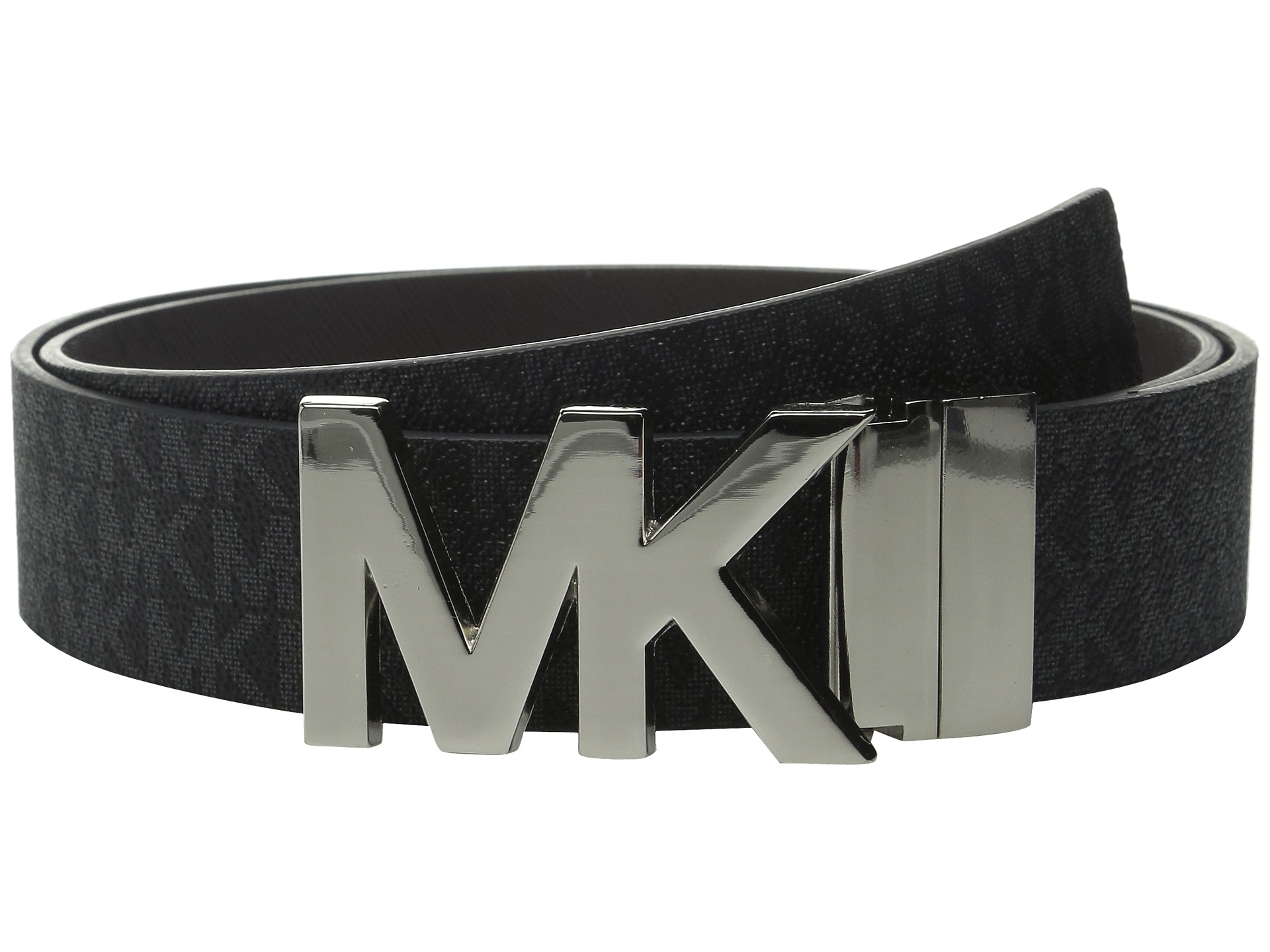 michael michael kors 38mm reversible logo pvc to saffiano on mk plaque buckle belt. Black Bedroom Furniture Sets. Home Design Ideas