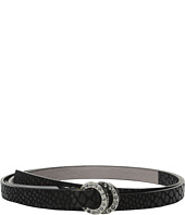 MICHAEL Michael Kors - 15mm Embossed Snake Belt on Pave Double Rings and Pull Back Closure
