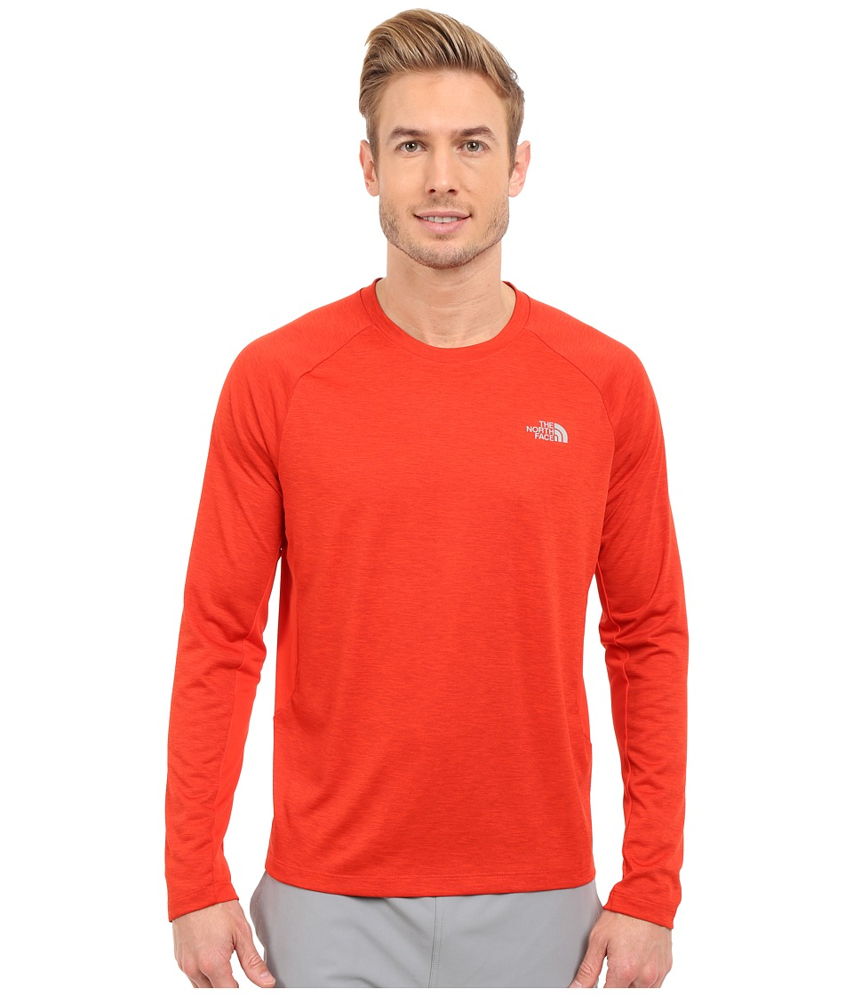 The North Face Ambition Long Sleeve Shirt Pompeian Red Heather Mens Long Sleeve Pullover
