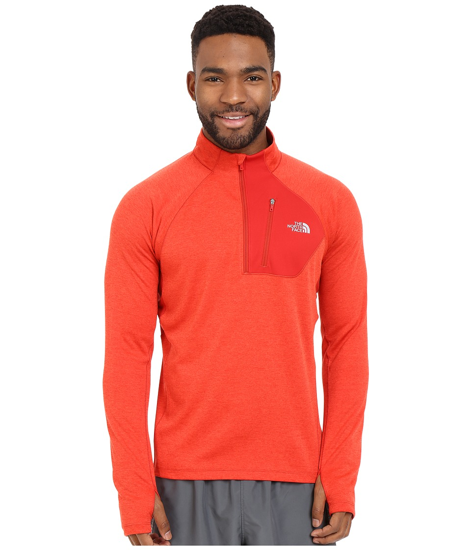 The North Face Impulse Active 1/4 Zip Pullover Pompeian Red Heather Mens Long Sleeve Pullover