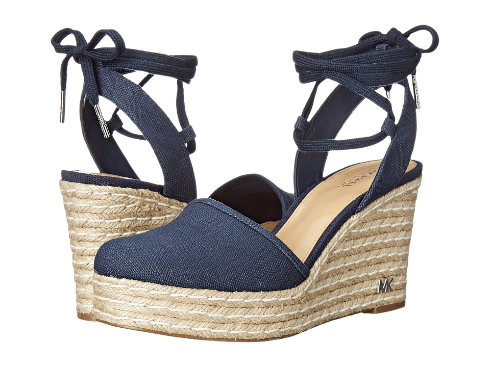 MICHAEL Michael Kors - Margie Closed Toe Wedge (Navy Small Weave Canvas) Women