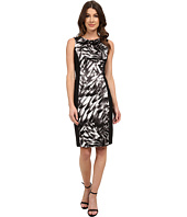 London Times - Side Blocked Printed Stretch Satin/Mystic Crepe Sheath
