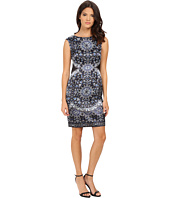 London Times - Cap Sleeve Printed Stretch Satin Sheath