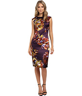 London Times - Cap Sleeve Midi Stretch Satin Sheath