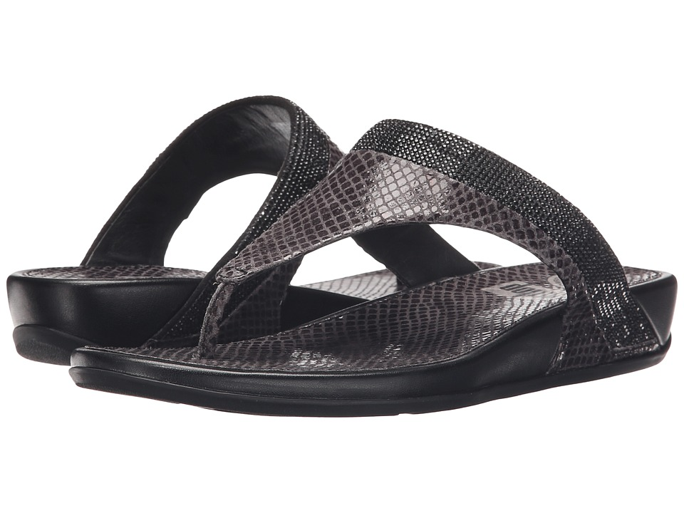 FitFlop Banda Crystal Snake Toe Post Black Womens Sandals