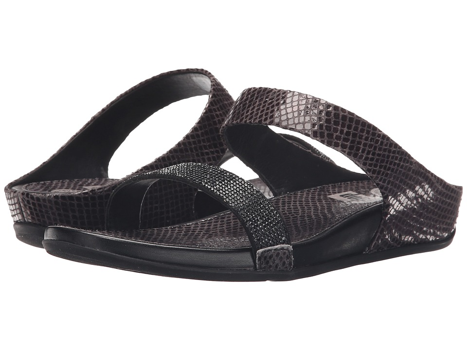 FitFlop Banda Crystal Snake Slide Black Womens Sandals