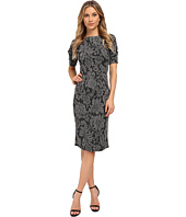 London Times - Elbow Sleeve Leaf Jacquard Sheath