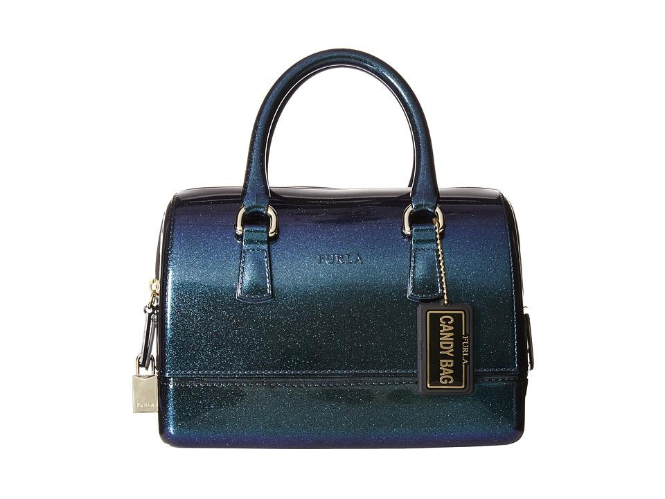 Furla Candy Dora Cookie Mini Satchel Onyx/Turchese Metal Satchel Handbags