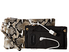 Mighty Purse Cow Leather Charging Snake Wristlet (Black/White)
