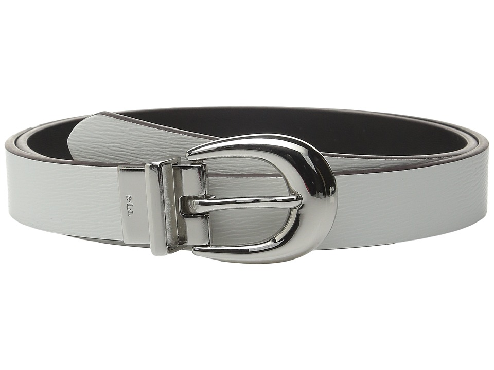 LAUREN Ralph Lauren 1 Saffiano to Smooth Reversible Belt Bright White/Black Womens Belts