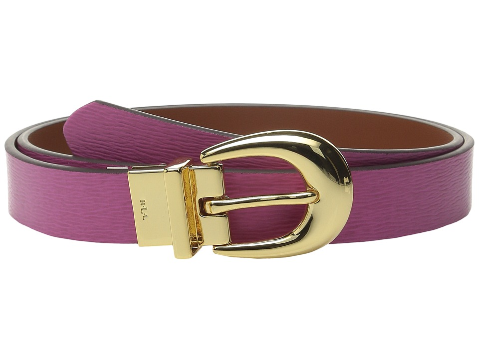 LAUREN Ralph Lauren 1 Saffiano to Smooth Reversible Belt Raspberry Rose/Light Tan Womens Belts