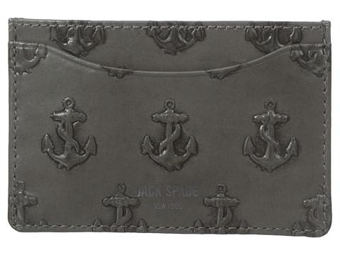 Jack Spade Embossed Anchor Credit Card Holder - Grey