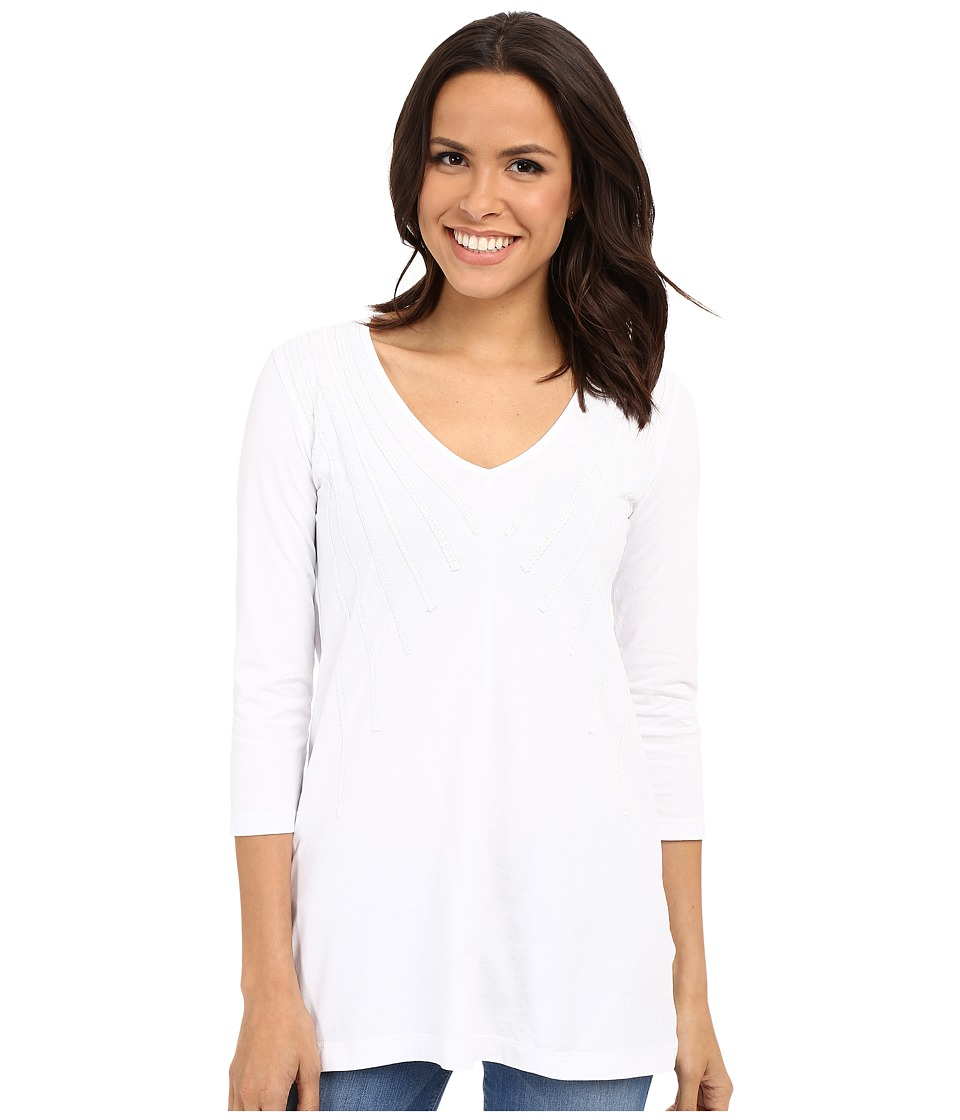 Mod-o-doc - Classic Jersey Lace Layover V-Neck Tee (White) Women