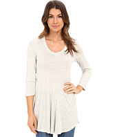 Mod-o-doc - Space Dyed Rayon Spandex Jersey 3/4 Sleeve Seamed V-Neck Tunic