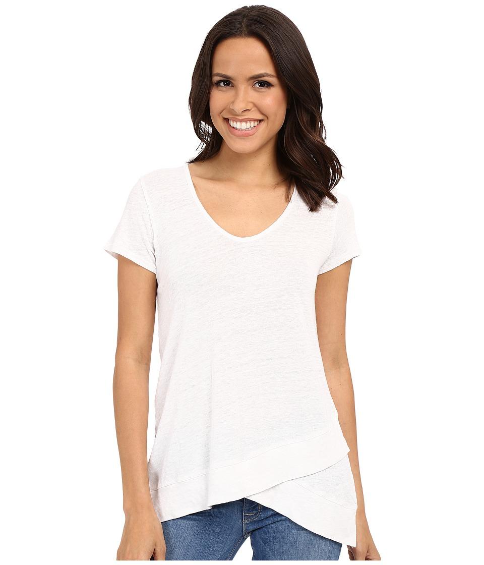 Mod-o-doc - Linen Nylon Knit Crossover Tank Short Sleeve Crossover Hem Tee (White) Women