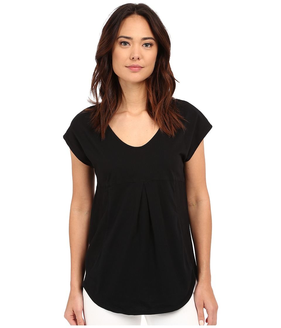 Mod o doc Supreme Jersey Short Sleeve Tee with Contrast Panel Black Womens Blouse