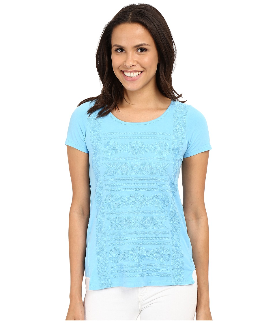 Mod o doc Classic Jersey Short Sleeve Embroidered Tee Clear Water Womens Short Sleeve Pullover