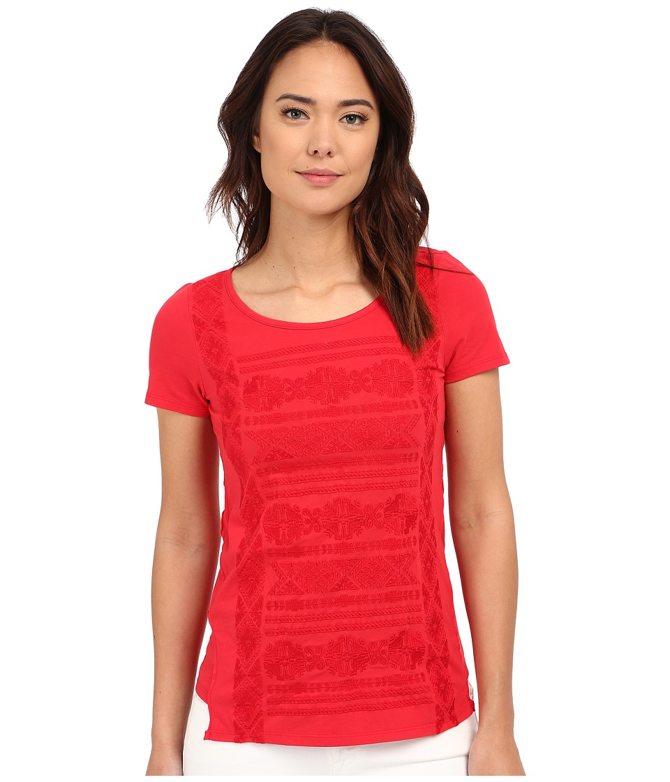Mod o doc Classic Jersey Short Sleeve Embroidered Tee Zinnia Womens Short Sleeve Pullover