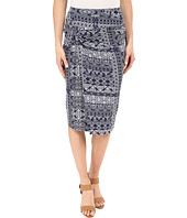 Mod-o-doc - Patchwork Tiles Printed Rayon Spandex Jersey Knotted Wrap Skirt