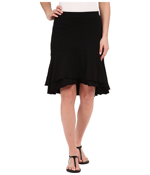 Mod-o-doc - Slub Jersey Double Tiered High-Low Skirt (Black) Women's Skirt