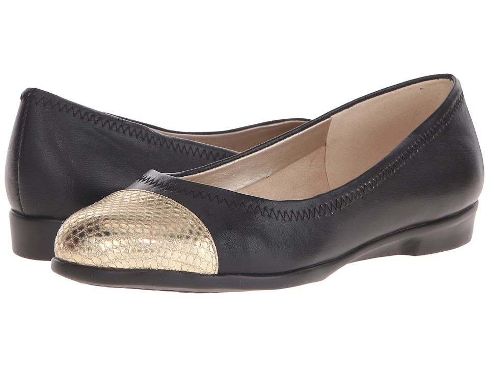 Aerosoles Bechnicolor Black Leather Womens Flat Shoes