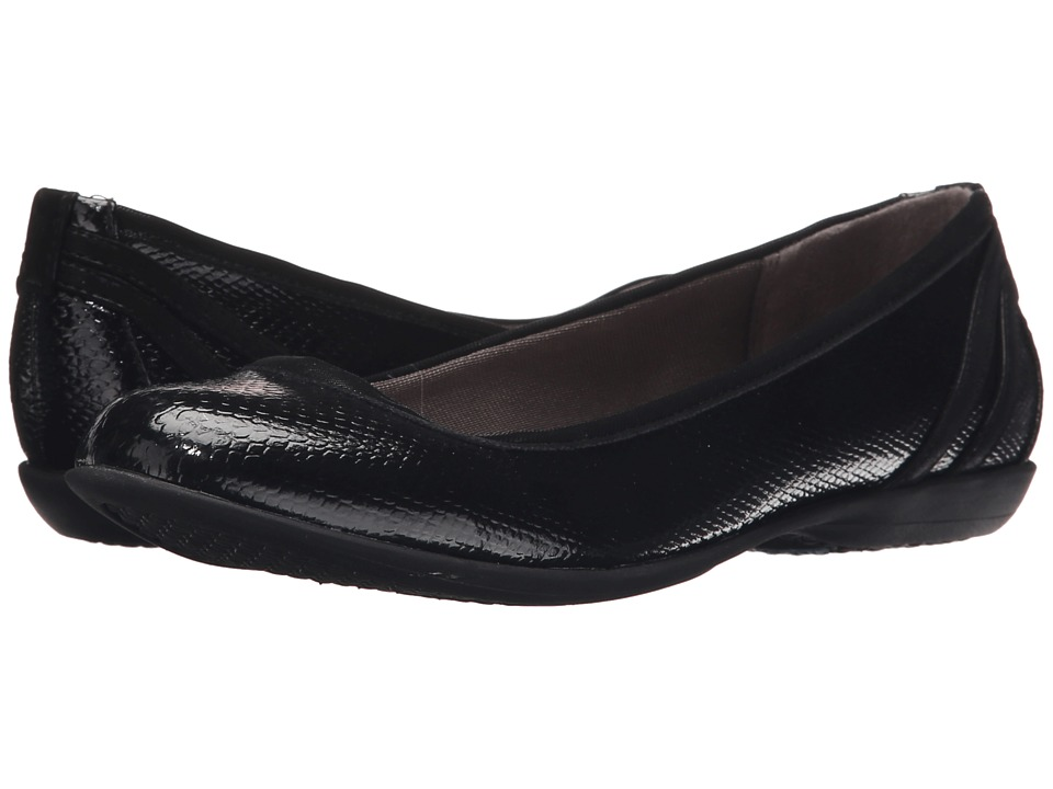 LifeStride Airy Black Snake Patent/Elf Womens Flat Shoes