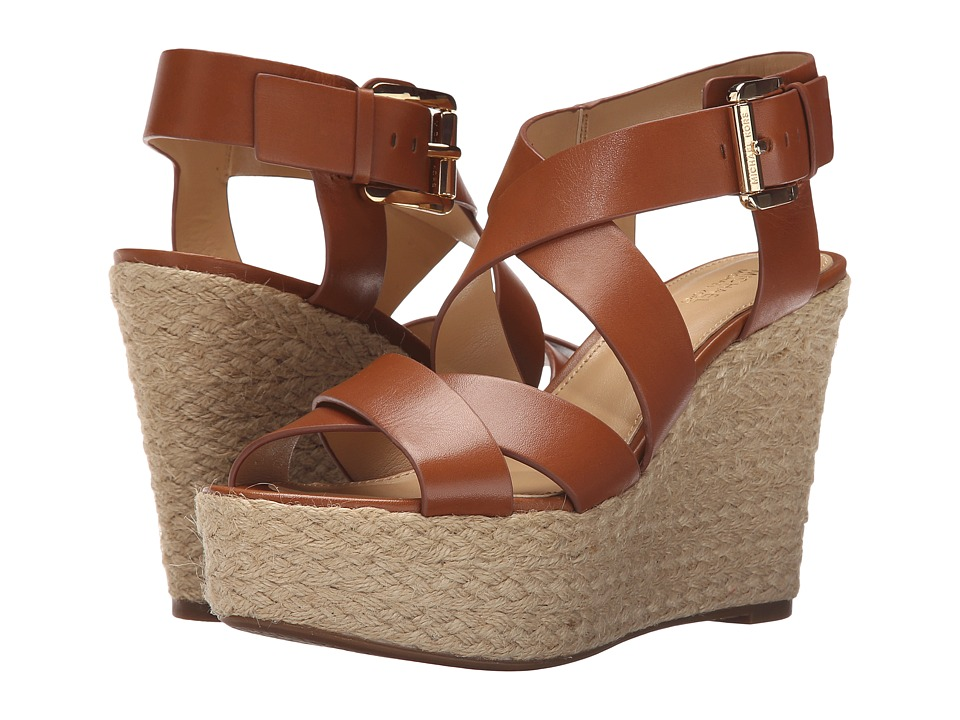 MICHAEL Michael Kors Celia Mid Wedge Luggage Vachetta Womens Wedge Shoes
